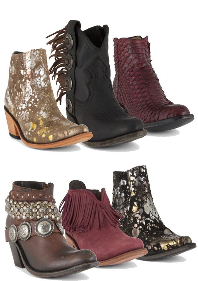 6 pairs of shortie boots with fringe, conchos, cowhide, and more