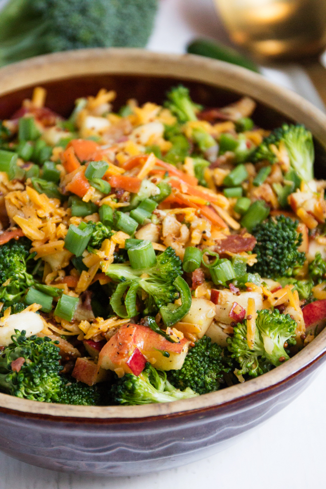 Broccoli, bacon, and cheddar salad