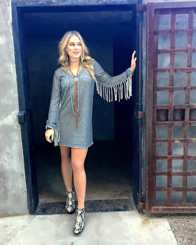 fringe dress and snake print bootie