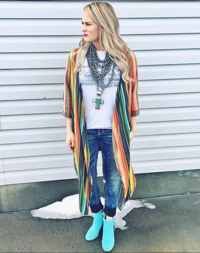Jessie rocking a serape duster and turquoise booties