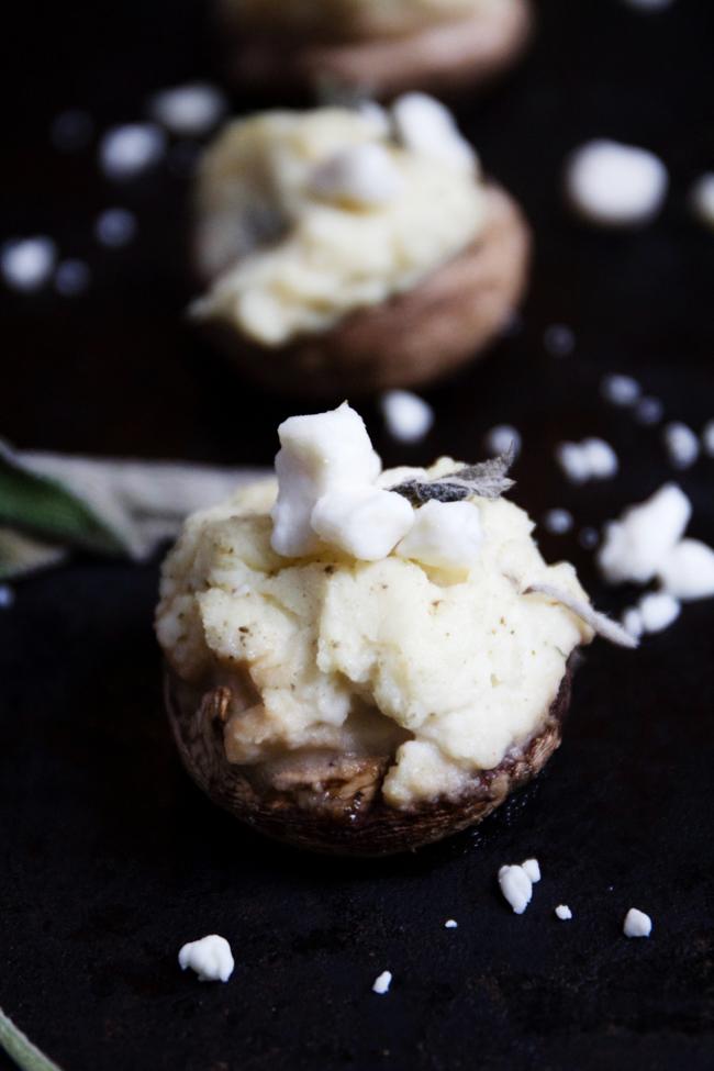 Potato and goat cheese stuffed mushrooms