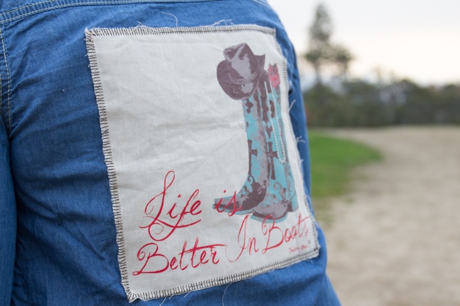 Life is better in boots denim shirt