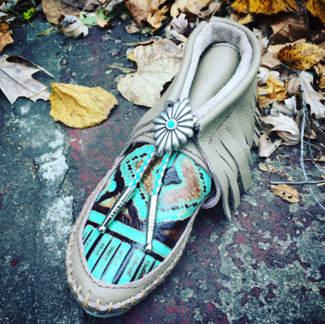 turquoise and brown leather fringe moccasin