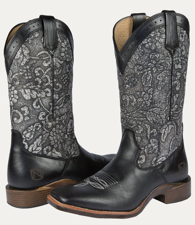 Noble Outfitters black and silver floral all-around boots