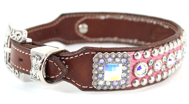 Pink Stella dog collar by Heritage Brand