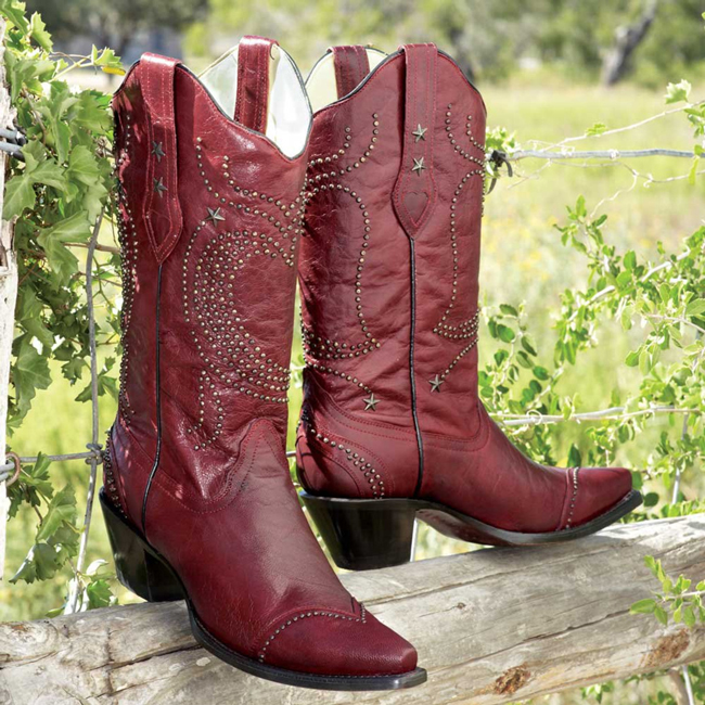 Red heart studded cowboy boots