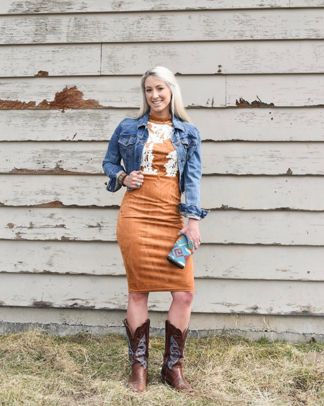 Denim jacket, simple dress and cowboy boots