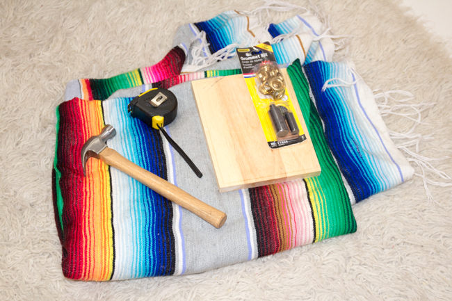 DIY serape shower curtain supplies