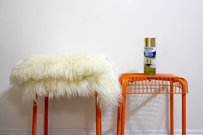 DIY sheepskin stools supplies