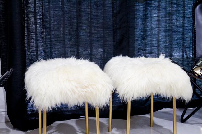 DIY sheepskin stools with gold legs
