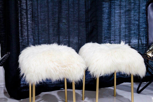 DIY sheepskin stools with gold legs