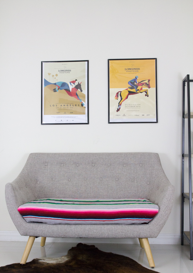 Serape couch and posters
