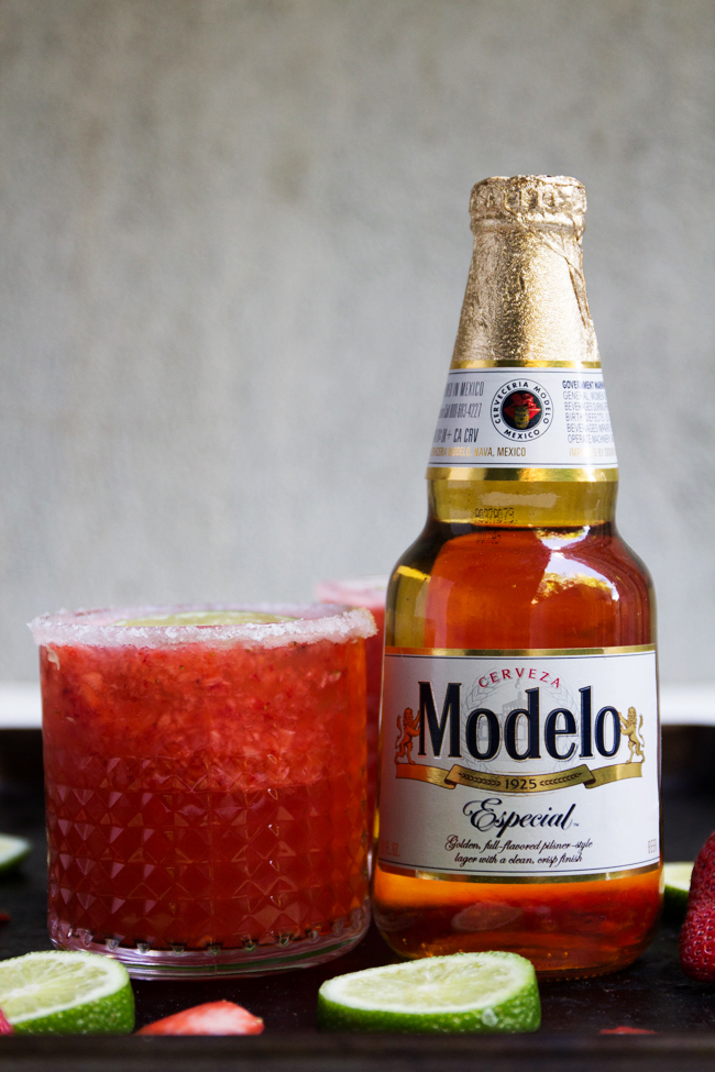Strawberry Beer Margaritas with Modelo