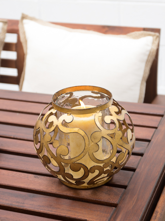 outdoor gold hurricane candle holder