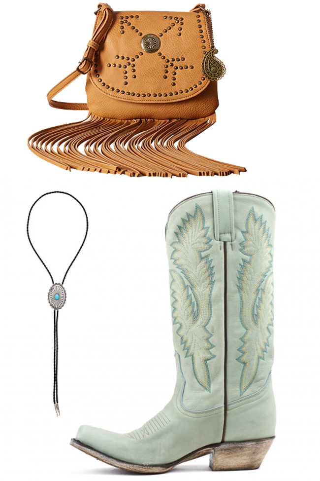 soft western style with a fringe bag