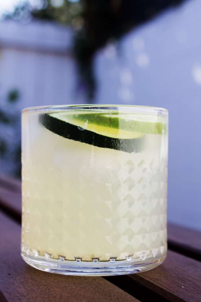 Cucumber Jalapeno Limeade drink during the summer