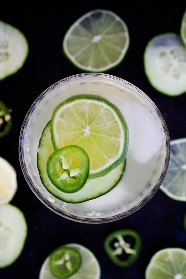 Cucumber Jalapeno Limeade with garnishes