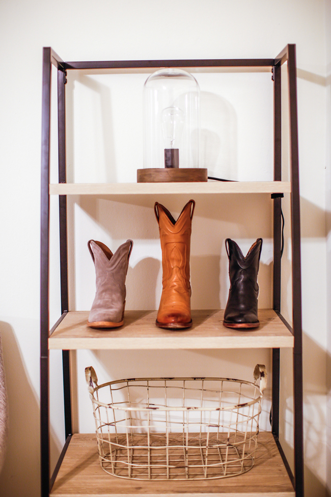 Tecovas cowboy boots and shelf styling