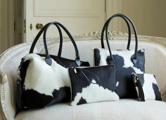 black and white cowhide bags by Hyde and Hare