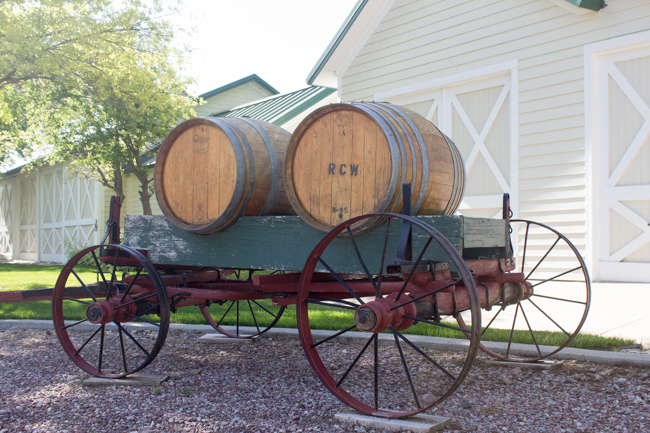 old wagon with barrels in Nebraska