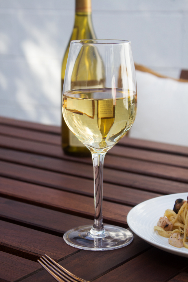 A glass of chardonnay