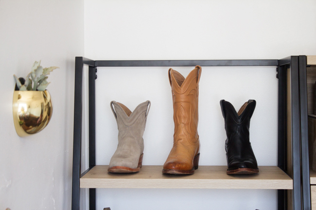 Tecovas cowboy boots on the shelf