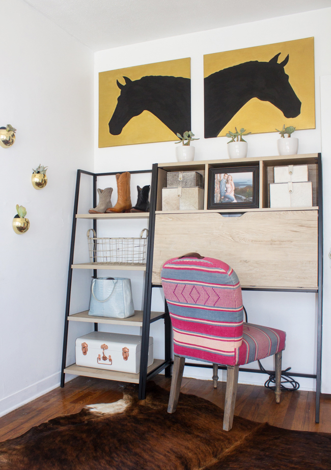 a small home office is packed with equestrian style