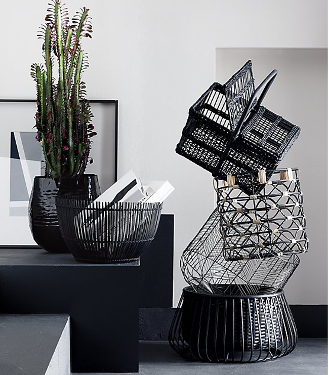 black baskets from CB2