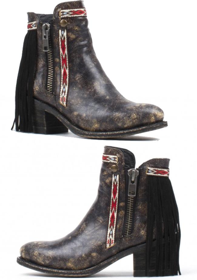 black fringe Corral ankle boots