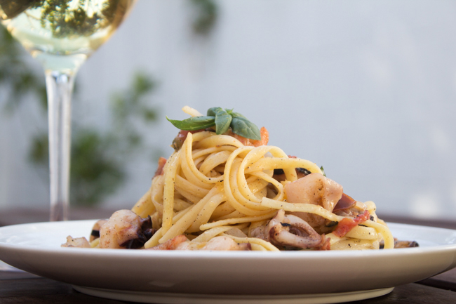 Seafood Linguine + Chardonnay