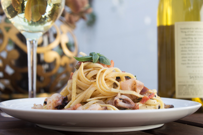 seafood pasta and chardonnay
