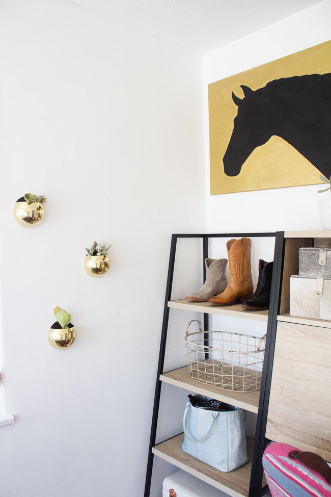 shelve styling on point in an equestrian's home office
