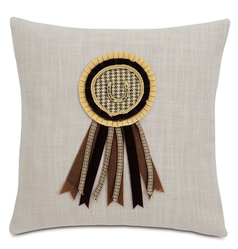 Plaid horse show ribbon pillow