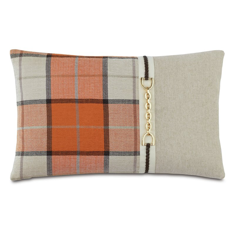 orange plaid equestrian pillow