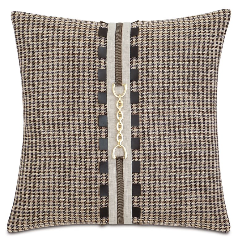 Plaid equestrian throw pillow