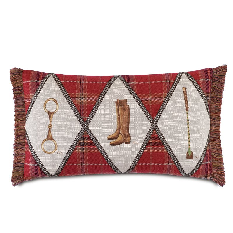 Equestrian plaid throw pillow
