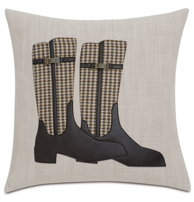 Equestrian riding boot throw pillow
