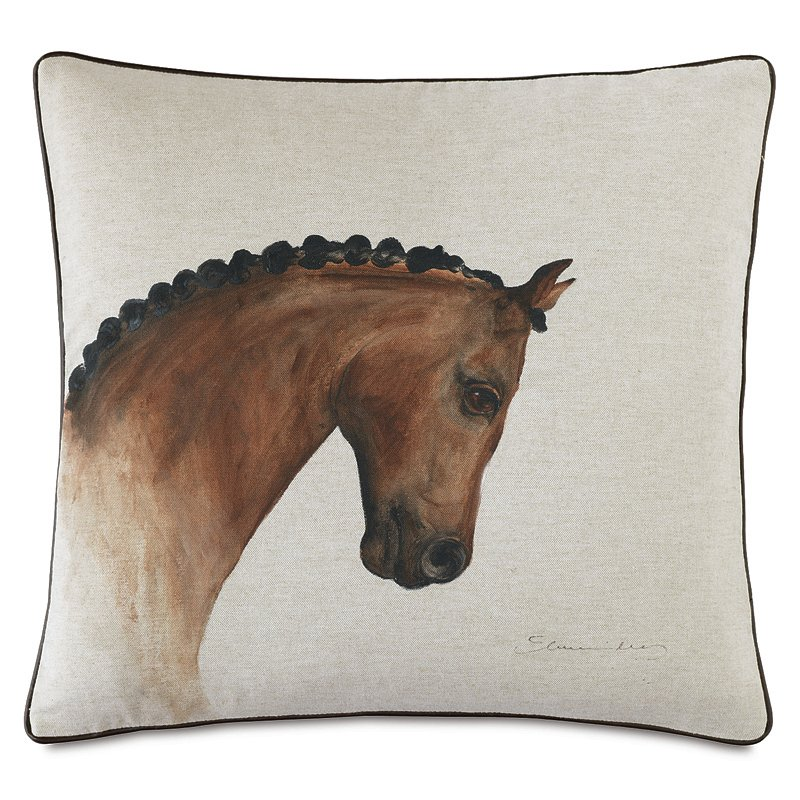 Horse head down throw pillow