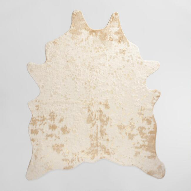Faux cowhide rug with acid wash