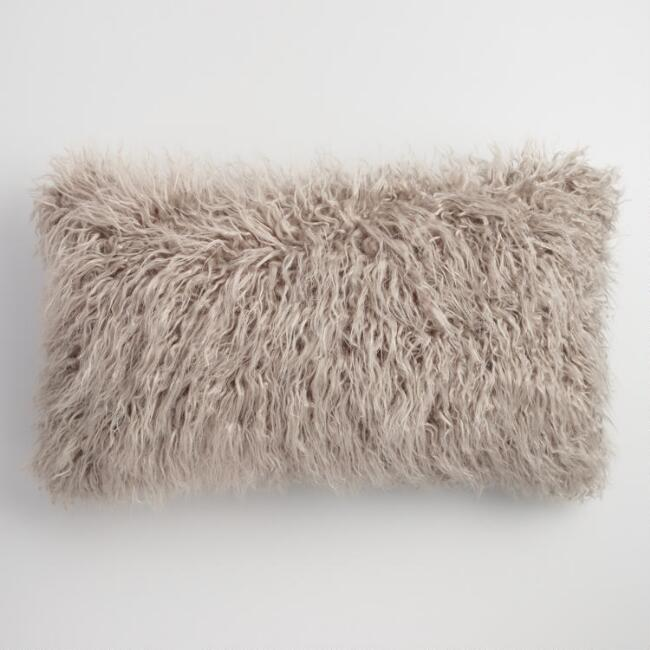 Faux fur lumbar pillow
