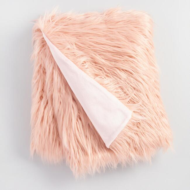 blush Mongolian faux fur throw