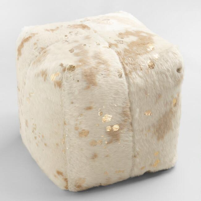 gold printed faux cowhide pouf