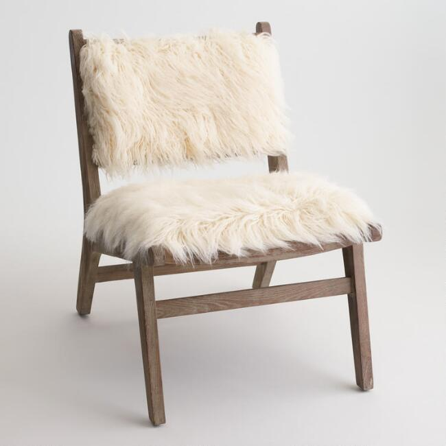ivory faux Flokati chair