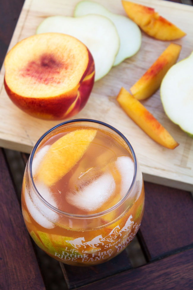 Fruit sangria with cinnamon and ginger