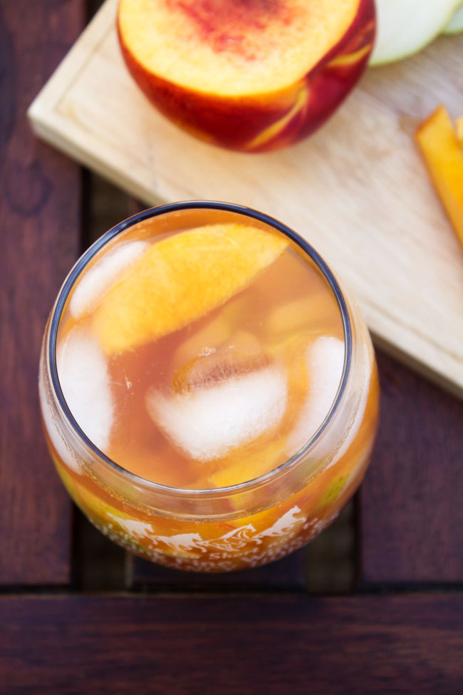 fruity sangria with cinnamon and ginger