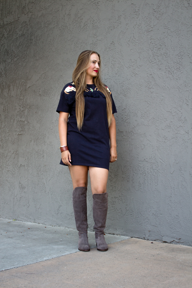 Fall in California, tall boots and a dress
