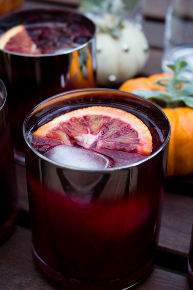 Blood orange and cherry mojitos with cinnamon