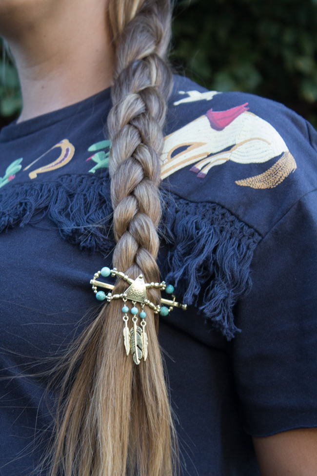 turquoise and feather hair piece