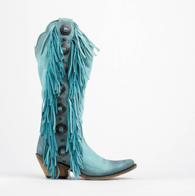 Liberty Black turquoise fringe tall boots