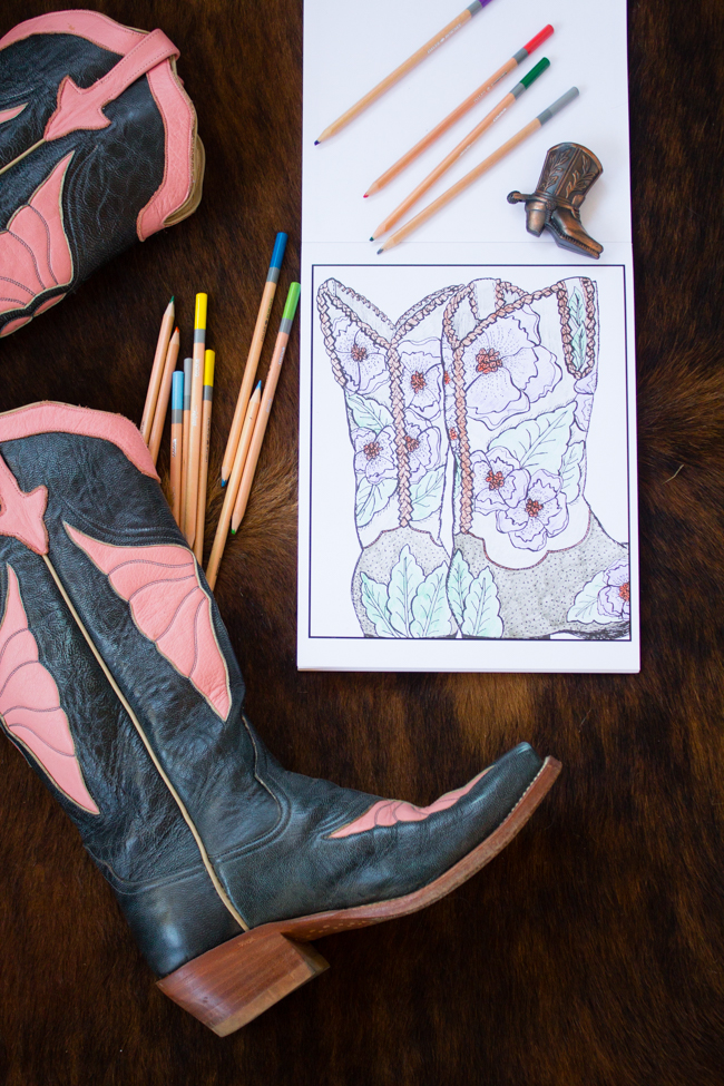 Colors Of A Cowgirl coloring book and cowboy boots